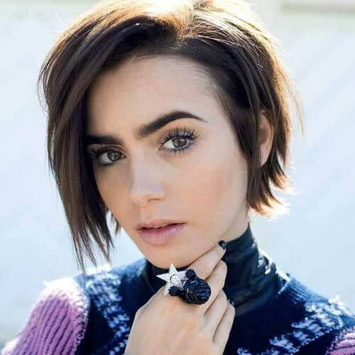 lily collins short haircuts for straight hair
