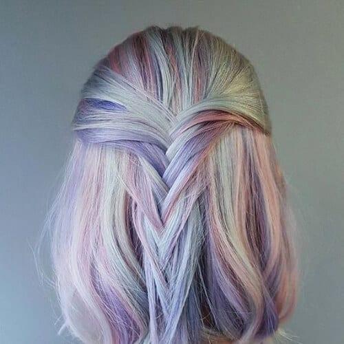 pastel unicorn short haircuts for straight hair