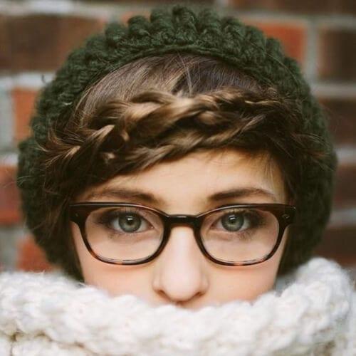 winter braided bang hairstyles
