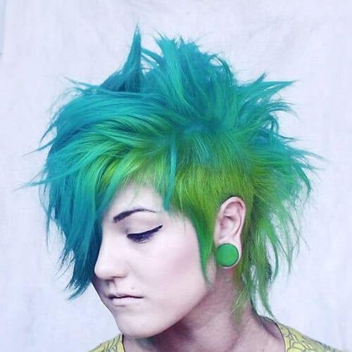teal aqua short punk hairstyles