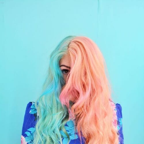 Pastel Pink and Turquoise two tone hairstyles