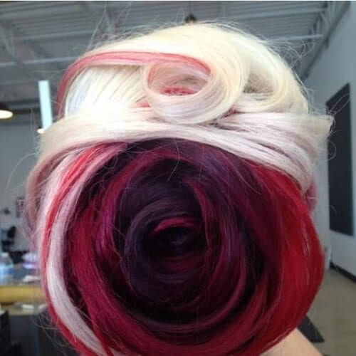 Red and blonde dyed rose inspired hair two tone hairstyles