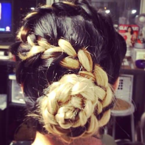 Two tone hairstyles braided bun