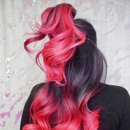 black and candy pink two tone hairstyles