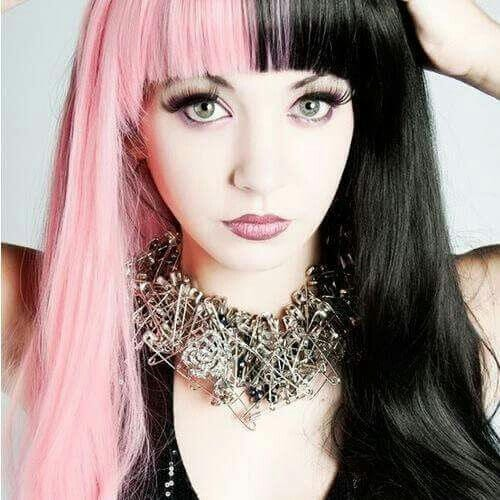 black and pink two tone hairstyles