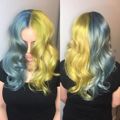 blue gray corn yellow two tone hairstyles
