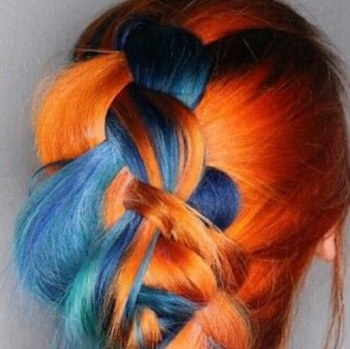 blue orange two tone hairstyles