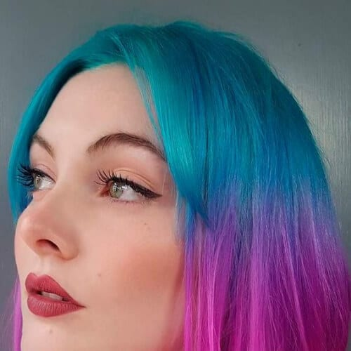 mulberry turquoise two tone hairstyles