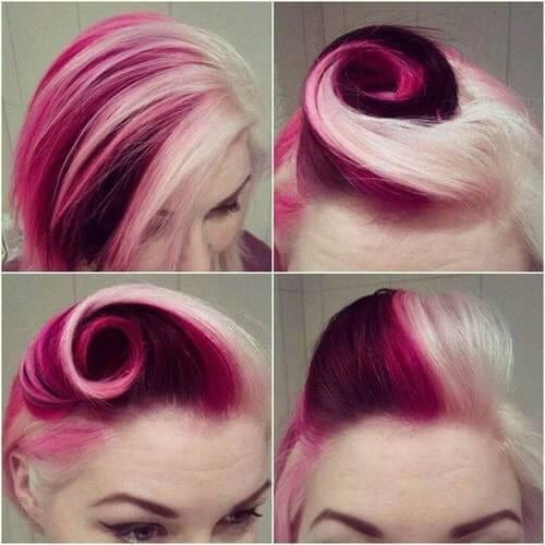 pink and grape victory roll two tone hairstyles