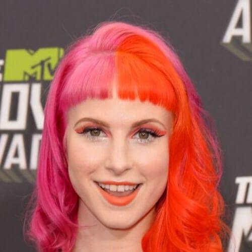 rose orange two tone hairstyles