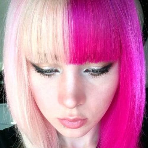 shades of pink two tone hairstyles