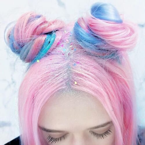 space buns two tone hairstyles