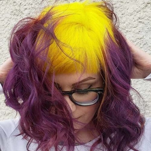 yellow purple two tone hairstyles