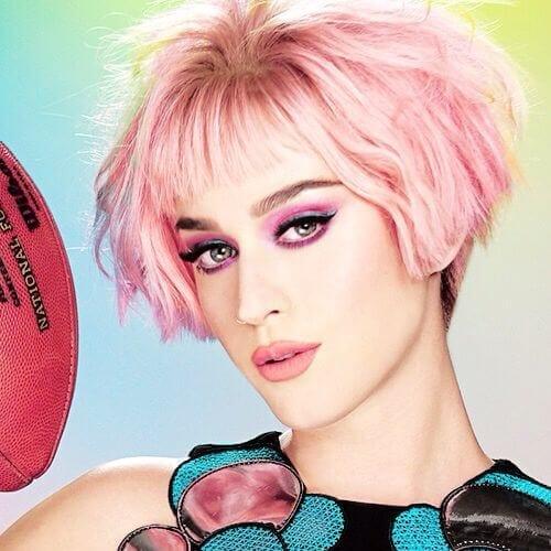 pink short bob katy perry hairstyles