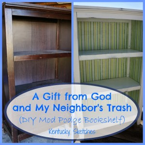 A Gift from God and My Neighbor's Trash (DIY Mod Podge and Scrapbook Paper Bookshelf)