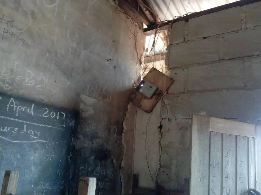 Students of Aputuogya JHS study under death trap