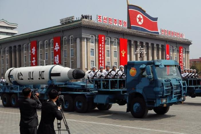 North Korea displays submarine-based missiles for first time at military parade