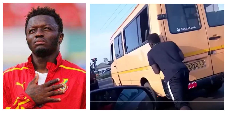 VIDEO: Black Stars Player Sulley Muntari Pushes 'Trotro'