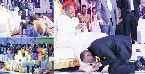PHOTOS:Church members kiss Pastor's feet to receive blessings