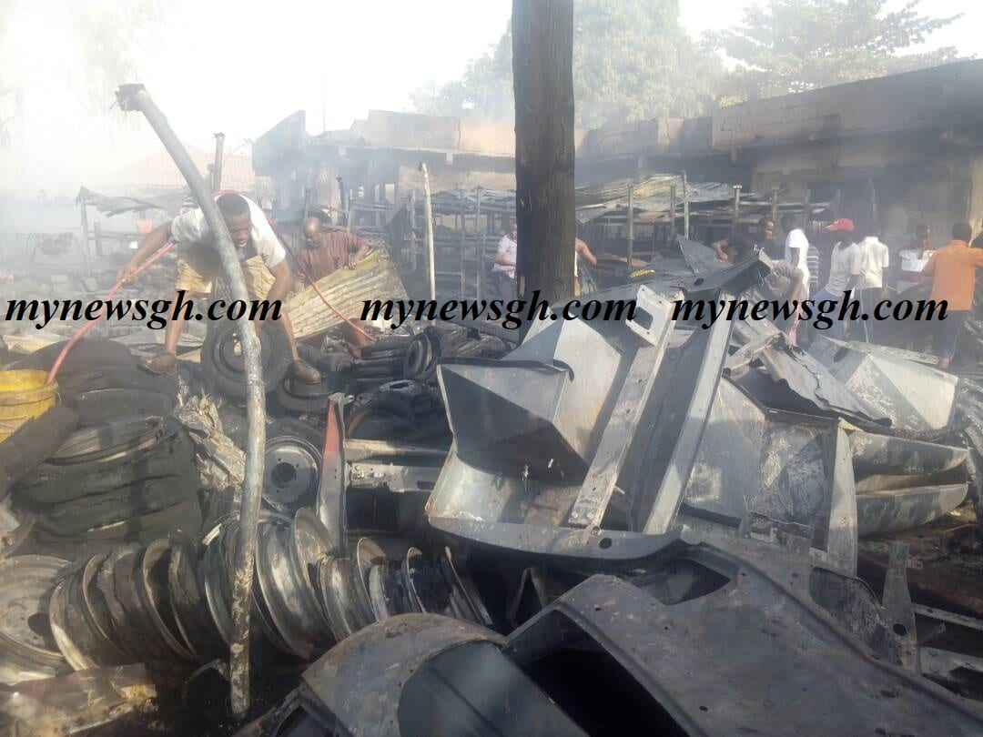 Bush fire causes fire outbreak at motor assembling plant; 45 trucks burnt