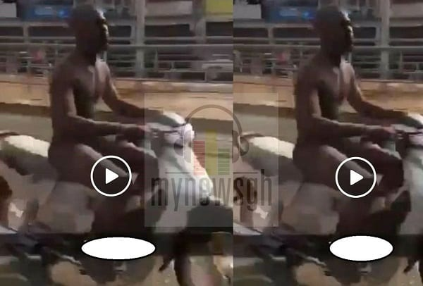 VIDEO: Man rides motorbike through Tamale streets naked to win GH¢50 bet