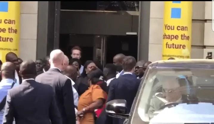 VIDEO: Akufo-Addo ambushed by Ghana-US deal protestors in London