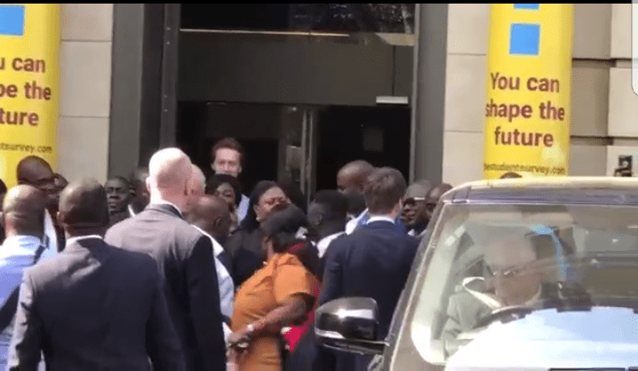 VIDEO: Akufo-Addo ambushed by Ghana-US deal protestors in London