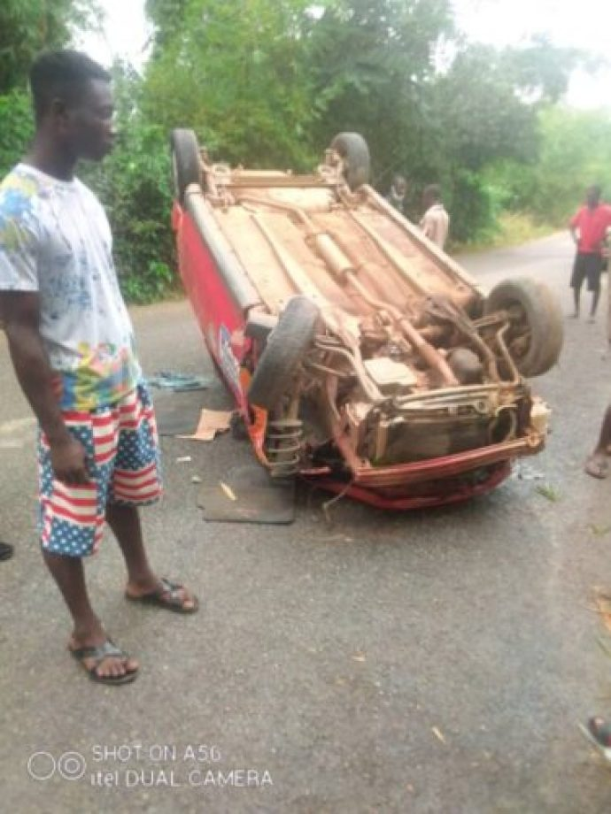 JUST IN: National Service Personnel Dies Instantly After Taxi somersaults 3 times (PHOTOS) 2