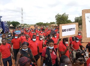The workers staged a demonstration on Thursday, July 8