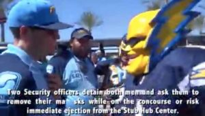"""Dan Jauregui as """"Boltman"""" and his interaction with StubHub security at Sept. 24, 2017, Chargers-Chiefs game."""