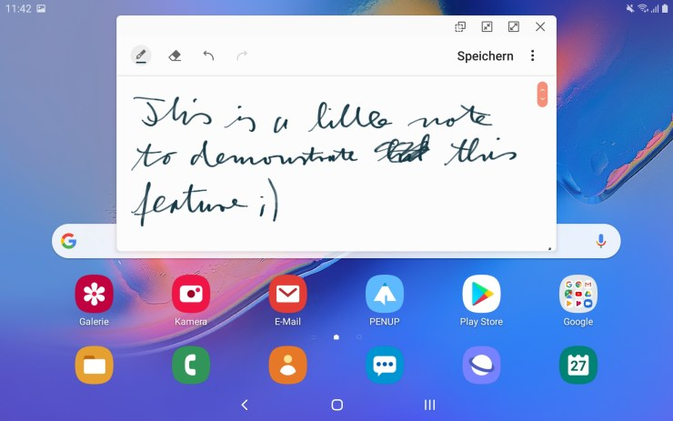 Samsung Galaxy Tab A with S Pen create a note