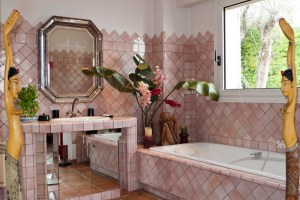 The master bedroom's open bathroom