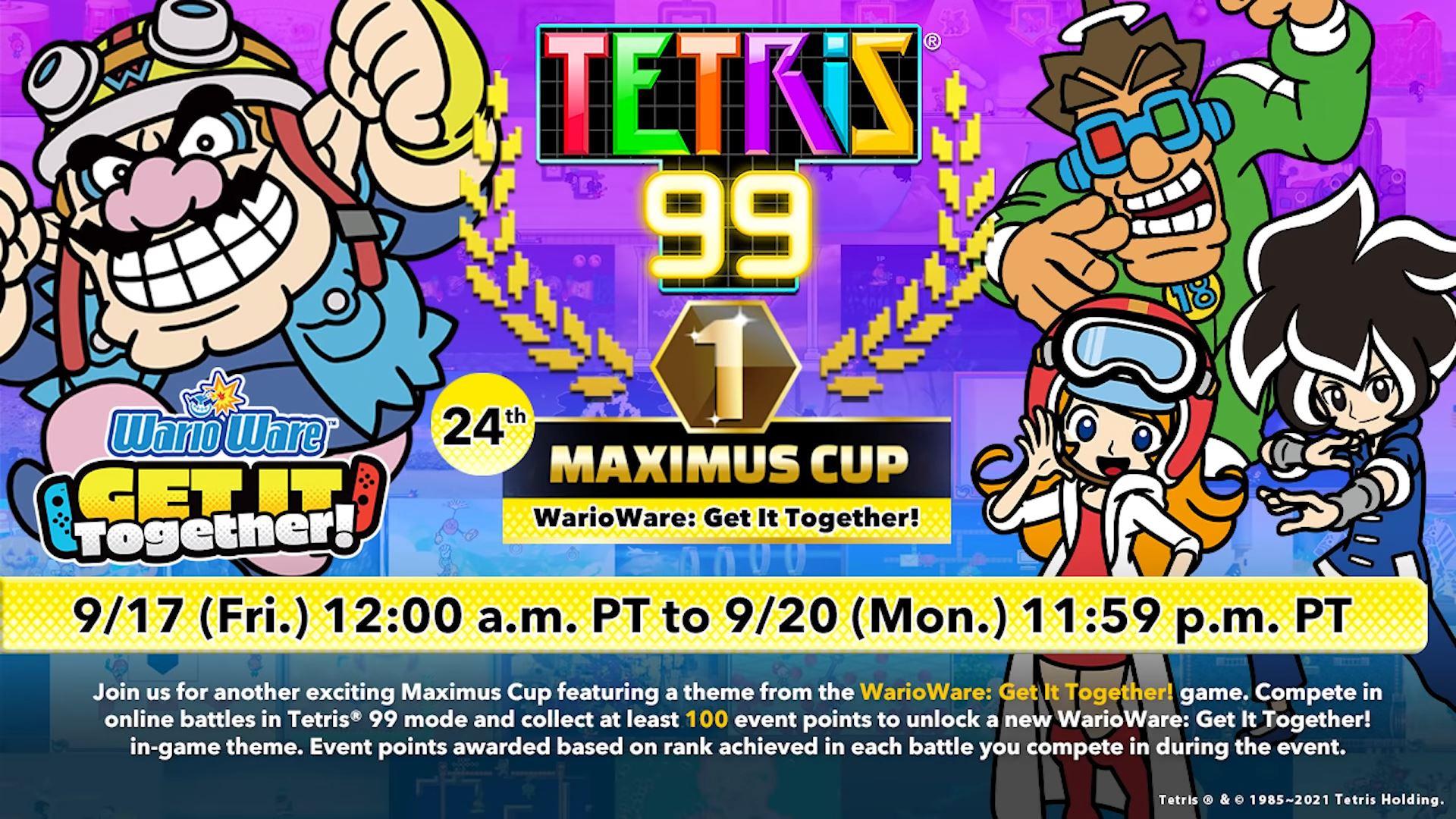 tetris 99 warioware maximus cup