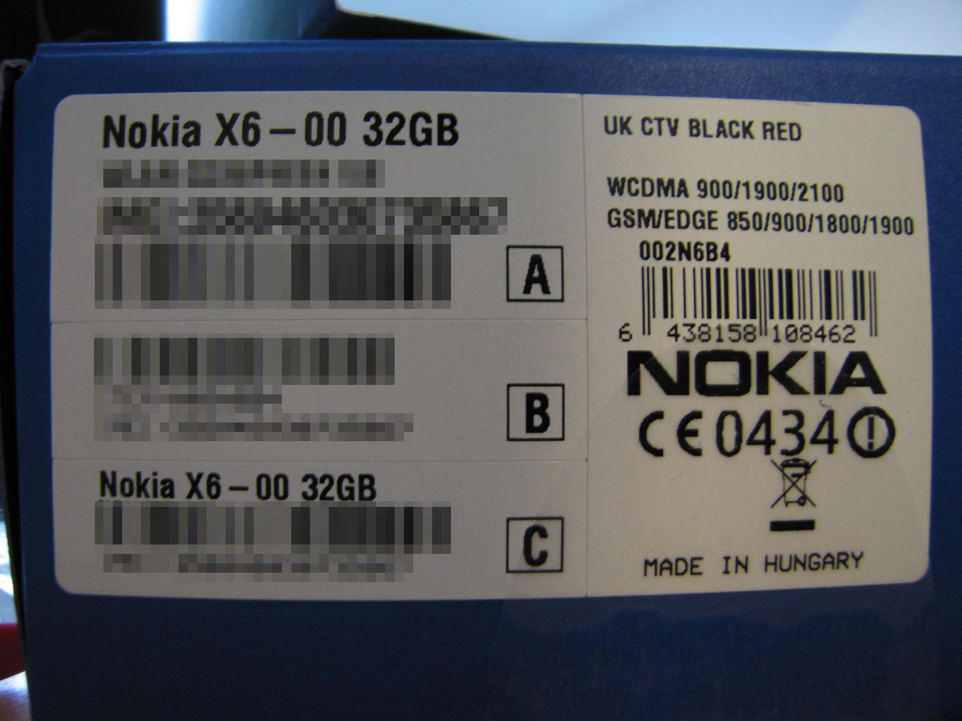 Nokia X6 – Box