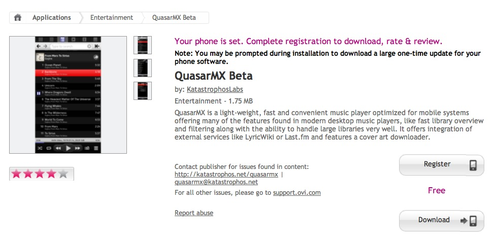 Symbian Apps: Quasar MX Beta (music player) available at Nokia Store