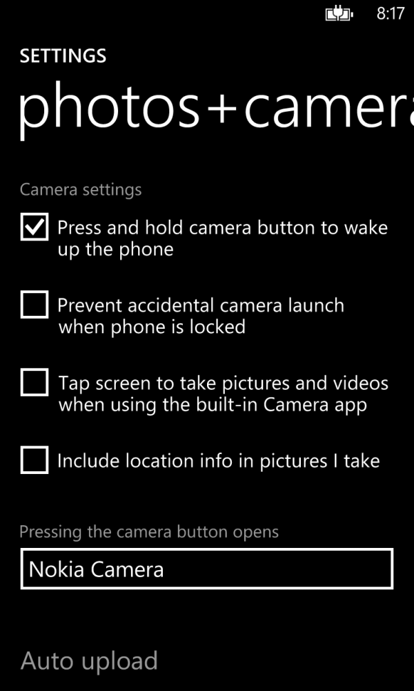 Nokia Camera as the default camera application.
