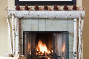Build A Birch Log Mantel