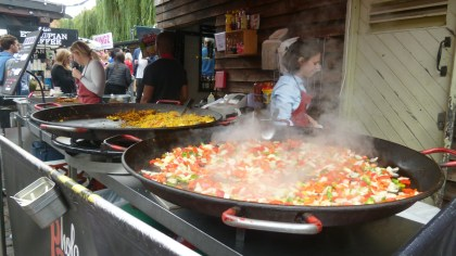 Giant paella preparation