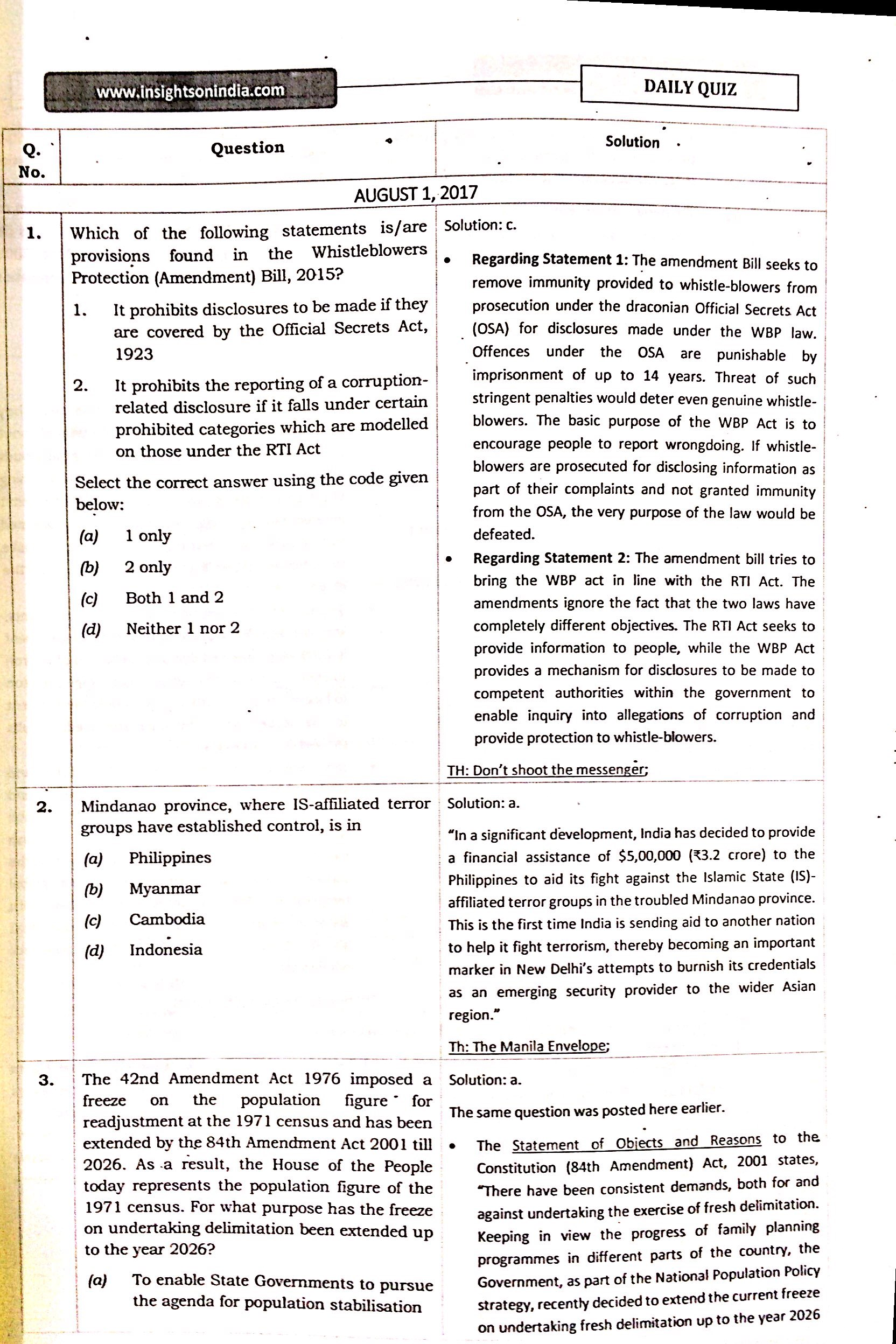 Insight Ias Daily Quiz August To September English Medium Printed Material My