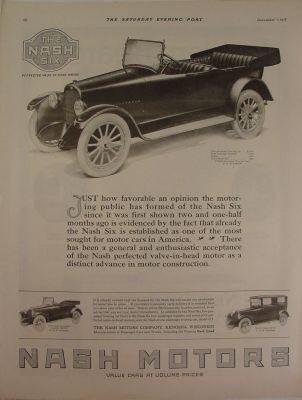 1917 Nash Six Touring Car ~ Roadster ~ Sedan Print Ad