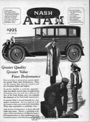 1926 Nash Ajax Six Sedan Motor Car Company Kenosha Wisconsin Salute Art Ad