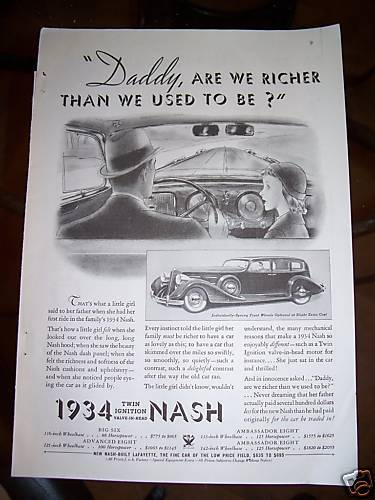 1934 Nash Car Daddy are We Richer Than Used to Be Ad