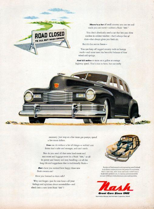 1948 Nash Car ad --Nash 600 ad