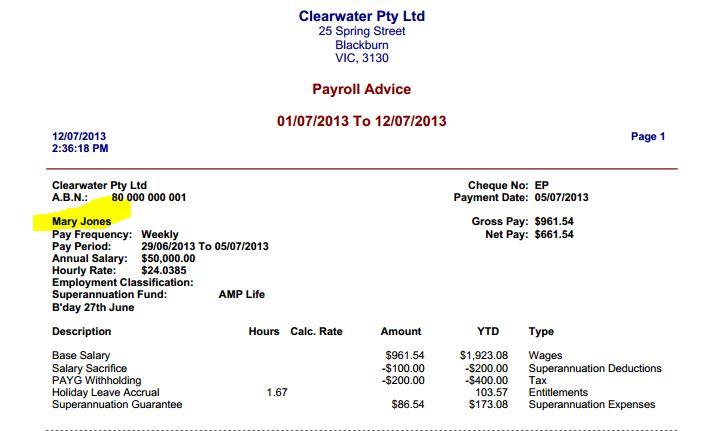 payslip template pdf