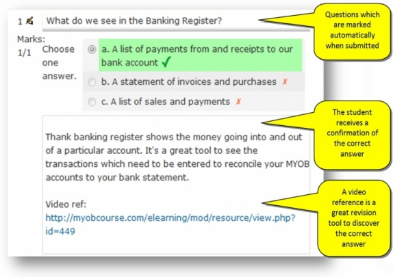 8 Knowledge Review and Assessments Questions created by Bookkeeping Industry accredited experts for Beginner to Advanced levels MYOB Training Courses