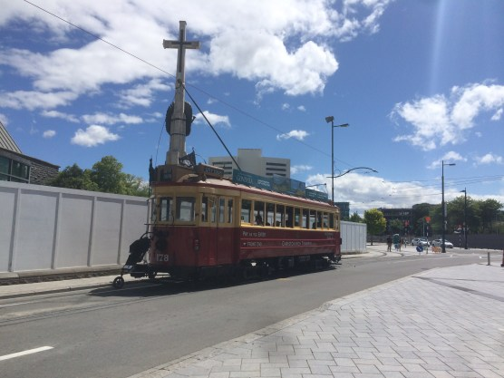 The trams are hard to miss