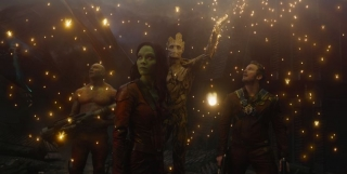 Marvel's Guardians Of The GalaxyL to R: Drax the Destroyer (Dave Bautista), Gamora (Zoe Saldana), Groot (voiced by Vin Diesel) and Peter Quill/Star-Lord (Chris Pratt)Ph: Film Frame©Marvel 2014