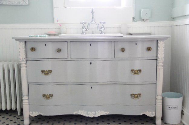 Master Vanity- Bowfront Dresser made into vanity