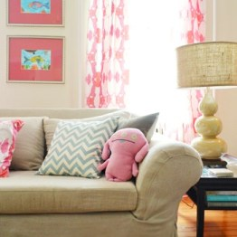 MY OLD COUNTRY HOUSE - LIVING ROOM - SPOONFLOWER FABRIC DRAPES