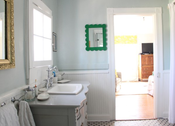 WHERE THE BARN DOOR WOULD GO IN THE BATHROOM...